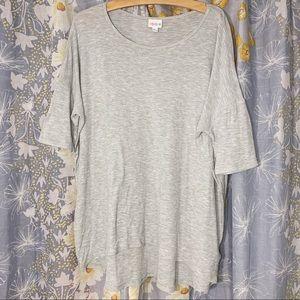 LulaRoe Heather Grey Short Sleeve Knit Tunic Top L